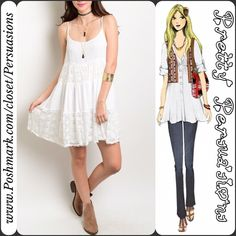 """SALE🌻NWT White Pieced Lace Boho Baby Doll Dress NWT White Pieced Lace Boho Baby Doll Dress  Available in sizes: S, M, L Measurements taken in inches from a size small:  Length: 33"""" Bust: 36"""" Waist: 42""""  Features: • scoop neckline  • spaghetti straps • super soft, light weight material  • relaxed fit • lace insets • tiered ruffle hem skirt • lined/not sheer  Bundle discounts available  No pp or trades ~ Item # 101-4-29-0270WLD  WHITE LACE COVER UP BLUSH STRIPED Pretty Persuasions Dresses"""