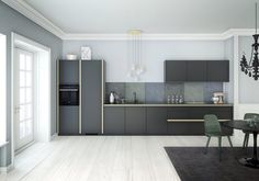 Tinta by Kvik. Black mat fronts  and brass details. Kvik believes everyone has the right to a cool kitchen - so prices are low. www.kvik.com