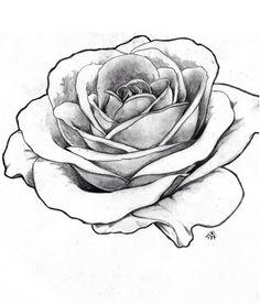 tattoos realistic rose tattoo rose drawings rose outline drawing rose … - All About Rose Outline Drawing, Red Rose Drawing, Realistic Rose Drawing, Rose Outline Tattoo, Tattoos Realistic, Outline Drawings, Cool Drawings, Flower Outline, Drawing Art