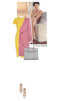"""""""I wear pink for all of women"""" by s-thinks ❤ liked on Polyvore featuring Victoria Beckham, Theory, Gianvito Rossi, Hermès and IWearPinkFor"""