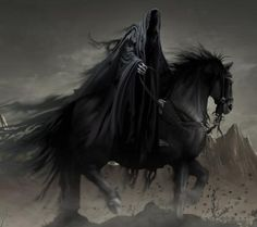 Another look at the possibility of the Grim Reaper being one of the four horsemen of the Apocalypse. From what I could tell it was one of the largest arguments of who the Grim Reaper is. Don't Fear The Reaper, Grim Reaper Art, Dark Fantasy Art, Fantasy Images, Dark Gothic, Gothic Art, Gothic Images, Dark Creatures, Mythical Creatures