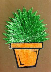 Com lápis cor de laraja pintámos o desenho de um vaso, que recortámos e colámos numa cartolina castanha. Em EVA verde brilhante recort...