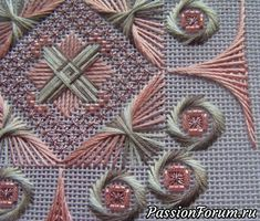 Hardanger Embroidery, Ribbon Embroidery, Embroidery Stitches, Embroidery Patterns, Cross Stitch Patterns, Needlepoint Designs, Needlepoint Stitches, Needlework, Bargello Patterns
