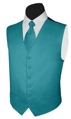 Teal & White Tux vest and tie