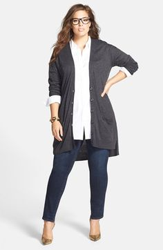 Halogen® Cardigan, Sejour Shirt & KUT from the Kloth Jeans (Plus Size)  available at #Nordstrom
