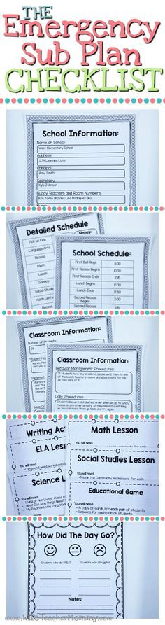 The Emergency Sub Plan Checklist includes 5 things that your sub plans MUST Include! Free printables! School Information, School Schedule, Class Information, Lesson Plans & Worksheets, and End of Day Form. http://www.wifeteachermommy.com/2016/02/5-things-
