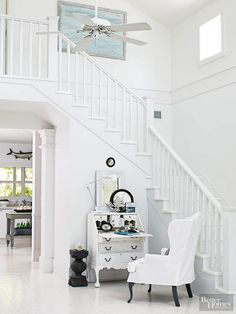 try:  square balusters, plainly profiled handrails and posts, with a white-painted finish