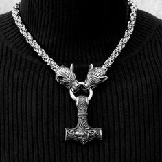 Large Thor's Hammer Mjolnir On Chainmaille Design Chain Necklace w/ Fenrir Wolf Head Ends