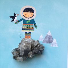 A new piece of Tibetan Quartz to add to my crystal collection ✨and a drawing of an Arctic boy, that didn't quite make it into a recent project #onmydesk #illustration #puffin #crystals #rebeccajones