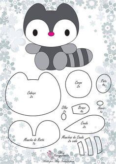 Pattern for a cute little felt raccoon.