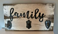 Vintage wood sign with Family and hooks by SimplylovelythingsCo