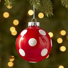 Polka-Dot Ball Ornament - Red