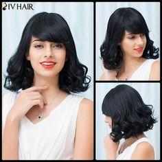 Siv Hair Side Bang Short Curly Bob Human Hair Wig