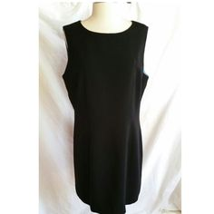 KASPER Size 14 Black Sleeveless Dress Classic Elegant #Kasper #WeartoWork