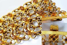 Modèle NINA RICCI Paris Runway Couture Chain Mail Bracelet Cuff Gold Plated Brass Smoky Topaz Citrine Rhinestones France by ElleTreasures