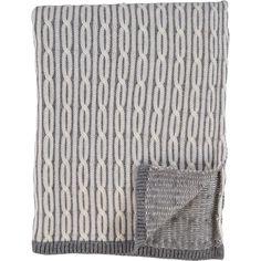 """Nicole Miller"" Grey Cable Knit Woollen Throw - TK Maxx"