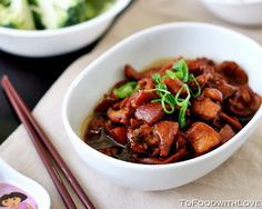 Braised Chicken with Caramel, Ginger and Sesame Oil