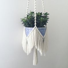 Bohemian macrame plant hanger with a fringe