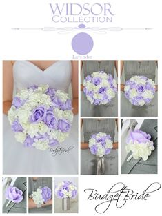 Davids Bridal mercury bridesmaids dresses with iris lavender and white wedding bouquets with stephanotis