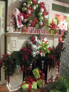 alternative christmas tree all I want for Christmas is you 15 Gorgeous Christmas Mantels - Christmas Decorating - Holiday. Christmas Fireplace, Christmas Mantels, Noel Christmas, Winter Christmas, Christmas Wreaths, Christmas Crafts, Fireplace Mantel, Fireplaces, Green Christmas