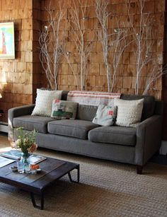 Branches behind couch.. Or bed. Soo cool.