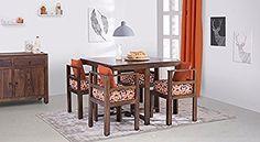 93d5aa165fc Urban Ladder Kivaha Four Seater Dining Table Set (Walnut)  Amazon.in