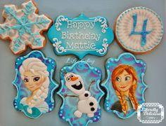 Disney's Frozen cookies. #Disney #frozen #letitgo #olaf #anna #elsa #birthdaycookies #decoratedsugarcookies #snowflake #ldcakery