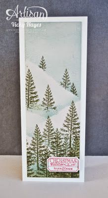 Snowy slopes Christmas card using Festival of Trees from Stampin' Up