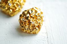 Clip On Earrings  Golden Nuggets with Sparkling by miriamMADLY