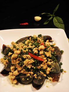 """From a typical """"Pad Kra Pow"""" to an exotic & strange recipe """"Pad Kra Pow Century . - From a typical """"Pad Kra Pow"""" to an exotic & strange recipe """"Pad Kra Pow Century Eggs.""""It ma - Healthy Thai Recipes, Gluten Free Rice, Ground Chicken, Egg Recipes, Healthy Choices, Tofu, Green Beans, Exotic"""