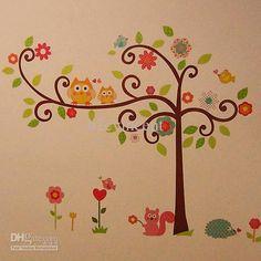coruja, da árvore do esquilo removível da parede do vinil
