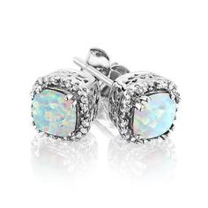 Created Opal and Diamond Earrings 1/10ctw - Item 19074889 | REEDS Jewelers