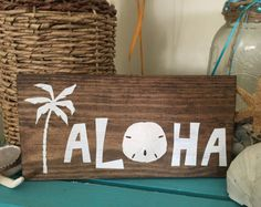 Aloha Palm Tree Wooden Sign
