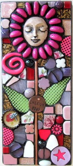 """LOVE GROWS"" mixed media mosaic flower"