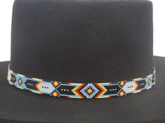 Native American Beaded Hat Band In The Classic Cherokee Chevron And Feather Pattern with the traditional colors of blue turquoise, black, red, orange, yellow and white by LJ Greywolf This Native Ameri Indian Beadwork, Native Beadwork, Native American Beadwork, Native American Jewelry, Bead Loom Patterns, Bracelet Patterns, Beading Patterns, Beaded Jewelry, Beaded Bracelets