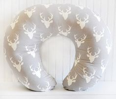 This deer head boppy pillow cover made in our Buck Forest in Mist Gray fabric. Boppy Cover Features: • Use with Boppy Feeding & Infant Support Pillows sold separately. • Available in a variety of fabr