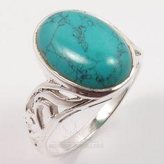 925 Solid Sterling Silver TURQUOISE Gemstone Handmade Stylish Ring Size US 7.75 #SunriseJewellers #Fashion