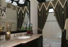 Welcome to Ideas of Bathroom Curtains Designs – Curtains Favourite article. In this post, you'll enjoy a picture of Bathroom Curtains Desig. Shower Curtain With Valance, Elegant Shower Curtains, Curtain Trim, Black Shower Curtains, Cool Curtains, Bathroom Curtains, Curtains Living, Window Curtains, Curtain Styles