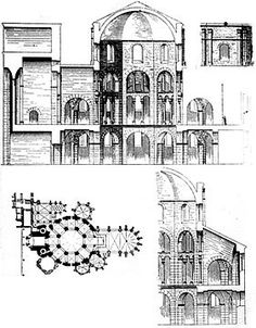 Section of the Palatine Chapel of Charlemagne, The plan includes a WESTWERK - western facade with towers and multiple stories, a Carolingian contribution to architecture. Architecture Romane, Romanesque Architecture, Roman Architecture, Classic Architecture, Historical Architecture, Ancient Architecture, Palatine Chapel, Pre Romanesque, Aachen Cathedral