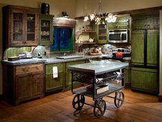 Rusztikus konyha szeletelt tégla hátfallal