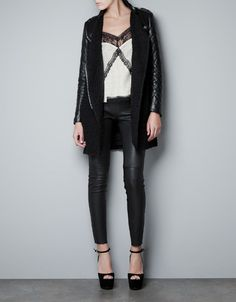 COAT WITH QUILTED LEATHER SLEEVES - Coats - Woman - ZARA
