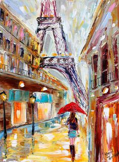Original painting PARIS Rain by Karensfineart