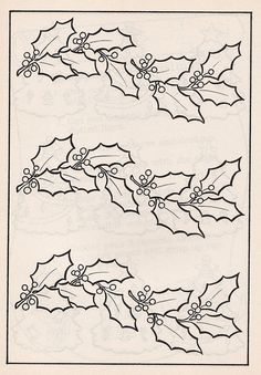 It's not a vintage book, but it has sweet drawings. This holly design would make a nice Photoshop brush. Felt Christmas Decorations, Christmas Colors, Christmas Art, Painting Patterns, Fabric Painting, Quilt Patterns, Christmas Embroidery Patterns, Hand Embroidery Designs, Vintage Embroidery