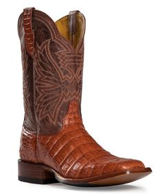 Loving this Cognac Caiman Leather Cowboy Boot on #zulily! #zulilyfinds
