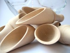 Wooden Scoops Natural Wood Bath Salt Scoops Spice Scoops Lovely Natural Miniature Scoop set of 5.