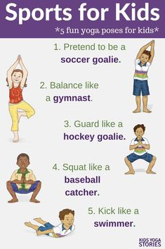 Sports Yoga Poses for Kids! Pretend to play soccer, row, play baseball and mor… Sports Yoga Poses for Kids! Pretend to play soccer, row, play baseball and mor… Yoga Poses For Men, Cool Yoga Poses, Yoga Poses For Beginners, Pranayama, Kundalini Yoga, Sports Activities For Kids, Kids Sports, Fun Activities, Mindfulness Activities