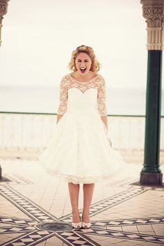 lace tea length wedding dress with sleeves £300