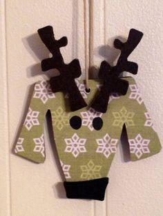 Whimsical Green Reindeer Dog Christmas Ornament - Wood & Scrapbook Paper