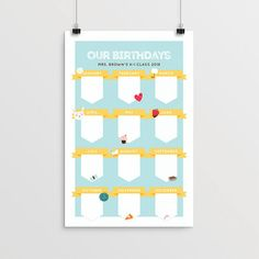 Printable Birthday Calendar 11 x 17 Editable