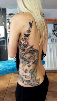 Woman with Skull back Tattoo - http://tattootodesign.com/woman-with-skull-back-tattoo/ | #Tattoo, #Tattooed, #Tattoos